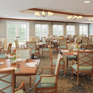 Senior Living Dining room architectural rendering