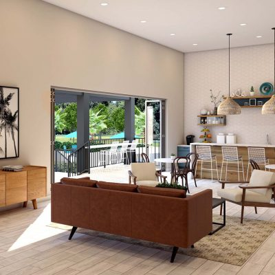resident lounge architectural rendering